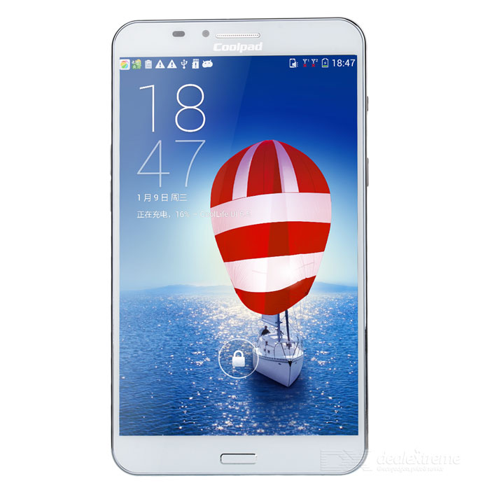 Coolpad 9976A Android 4.2 Octa-Core WCDMA Tablet PC w/ 7 IPS, 2GB RAM, 8GB ROM, GPS, WiFi - WhiteAndroid Phones<br>Color White RAM 2GB Internal Storage 8GB Brand Otherscoolpad Model 9976A Quantity 1 Piece Material Plastic Shade Of Color White Type Brand New Plug Specifications US Plug (2-Flat-Pin Plug) Housing Case Material Plastic Cellular WCDMAGSM Network Type 2G3G Band Details 2GGSM 850/900/1800/1900 3GWCDMA 850/900/1900/2100MHz Data Transfer GPRS Network Conversation One-Party Conversation Only WLAN Wi-Fi 802.11 bgn SIM Card Type Micro SIM SIM Card Quantity 2 Network Standby Dual Network Standby GPS Yes NFC Yes Infrared Port No Bluetooth Version V4.0 OS Android Firmware Version Android 4.2 CPU Processor MTK 6592 CPU Core Quantity Octa-Core Language Chinese English GPU Mali-450 Memory Card Miro SD card Max. Expansion Supported 32GB Size Range 5.5 Inches &amp; Over Touch Screen Capacitive Screen Screen Resolution 1920x1200 Screen Size ( inches) Others7.0 Main Camera Lens Features N/A Camera Pixel 13.0MP Front Camera Pixels 500W Pixels Video Recording Resolution 1920 x 1080 Flash Yes Touch Focus Yes Talk Time 3.5 Hour Standby Time 180 Hour Battery Capacity 4000 mAh Battery Type Non-removable Sensor G-sensorproximity Waterproof Level IPX0 Shock-proof No I/O Interface Micro USB3.5mm USB microUSB v2.0 Software Calculator memo ebooks alarm clock calendar tape recorder scene model topic schema Format Supported MIDI/MP3/AAC H.265/H.264 JAVA No WLAN Features Wi-Fi Direct Packing List 1 x Tablet PC 1 x USB cable(100cm) 1 x Charger(100V-220V US) 1 x Chinese / English manual 1 x Warranty card<br>