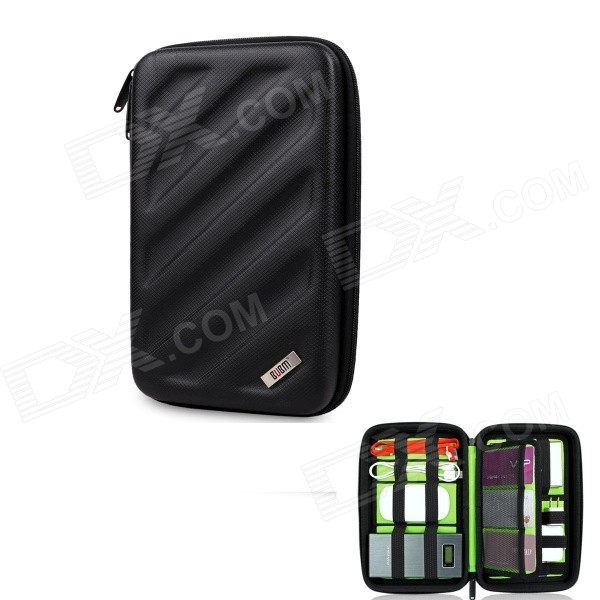 BUBM Shockproof EVA Hard Shell Large-Capacity Multi-Purpose Digital Storage Bag - Black bubm bj7 reel type large capacity multi purpose digital pouch storage bag coffee