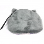Women's Lovely Cat Pattern Plush Change Coin Purse Pouch - Grey + Black + Multi-colored