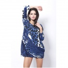 Women's Fashionable Leopard Pattern Long-sleeved Cashmere Mini Dress - Blue + Black (Free Size)
