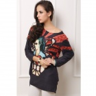 Women's Stylish Patterned Long-sleeved Loose Cashmere Blouse Top - Black + Red (Free Size)
