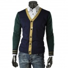 1401-Q24 Men's Fashionable Splicing Long-Sleeved Knitting Cardigan Coat - Green + Deep Blue (L)