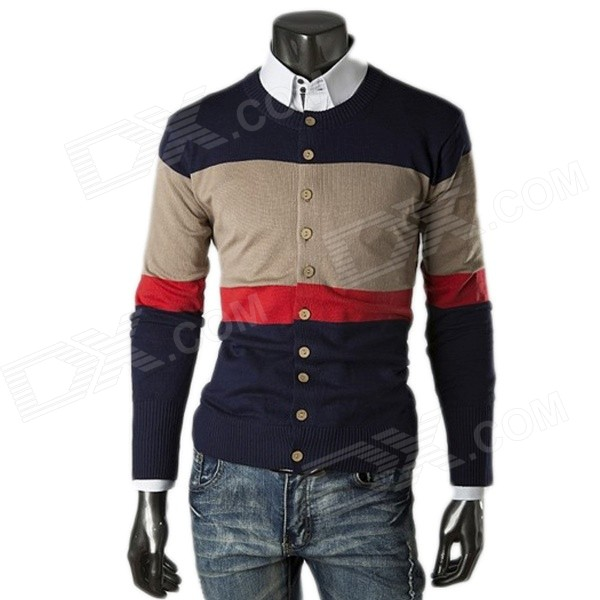 1401-Q26 Men's Fashionable Casual Splicing Long-Sleeved Knitting Cardigan Coat - Khaki (XL)