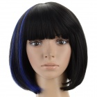 A103 1B/BLUE Women's Double Color Short Straight Hair Wig - Black + Blue