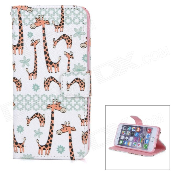 Giraffe Pattern Protective Flip-Open TPU + PU Case Cover w/ Stand + Card / Money Slots for IPHONE 6 антракт 2018 10 03t19 00