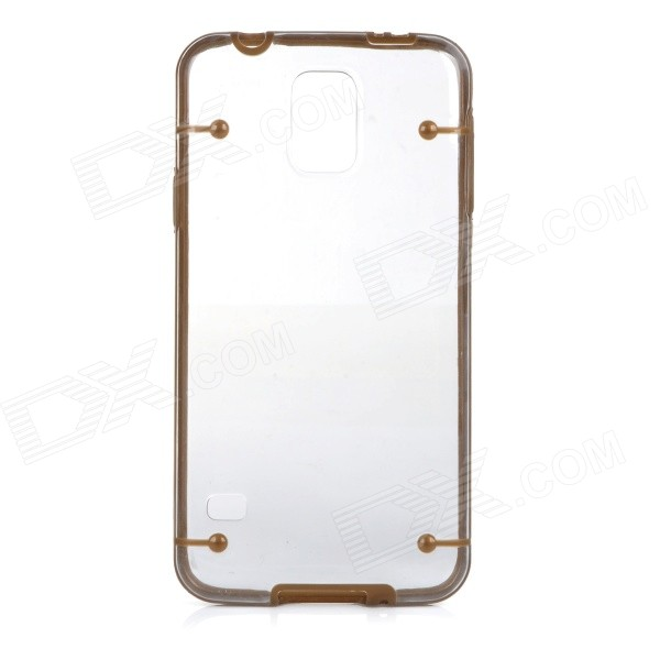 Glow-in-the-dark Protective PC Back Case Cover for Samsung Galaxy S5 - Brown + Transparent 100pcs pu6 pu 6 white color tube fittings pneumatic quick plug connection through pneumatic joint air pneumatic 6mm to 6mm pu 6