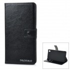 DULISIMAI Protective Flip-Open PU + PC Case Cover w/ Stand + Card Slot for Sony Xperia Z3 - Black