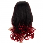 6323 C-3 Women's Tilted Frisette Long Curly Wig - Black + Red Wine