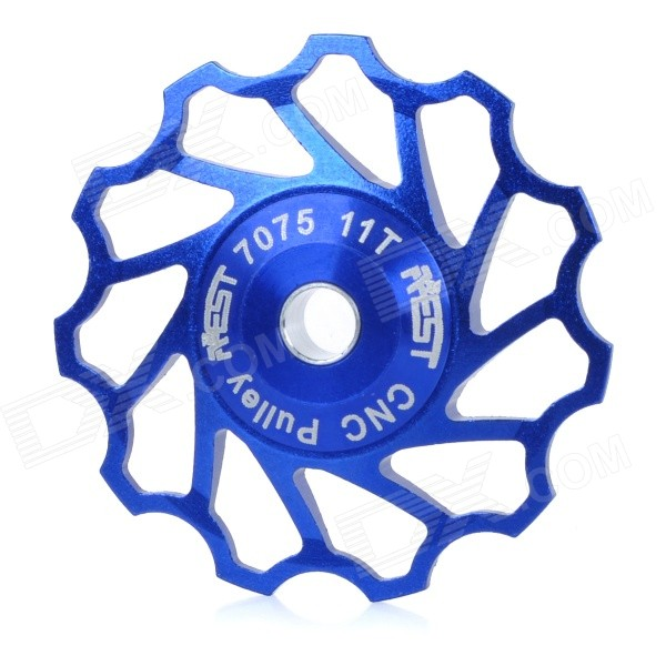 AEST AEST-14 Bike Bicycle Ultra Light 11T Aluminum Alloy Wheels Rear Derailleur Pulley - Blue gineyea aluminum alloy bike seatpost clamp blue