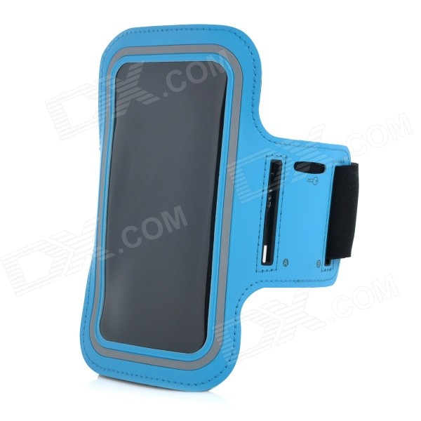 Convenient Velcro Tape Sports Armband w/ Phone Pouch for IPHONE 6 PLUS - Blue + Black zippered sports armband bag pouch for iphone 4 dark blue