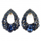 SHIYING A5504 Women's Shiny Rhinestone Inlaid Zinc Alloy Ear Studs - Deep Blue (Pair)