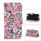 Flowers Patterned Flip-Open PU Leather Case w/ Stand / Card Slots for IPHONE 6 - Black + Red