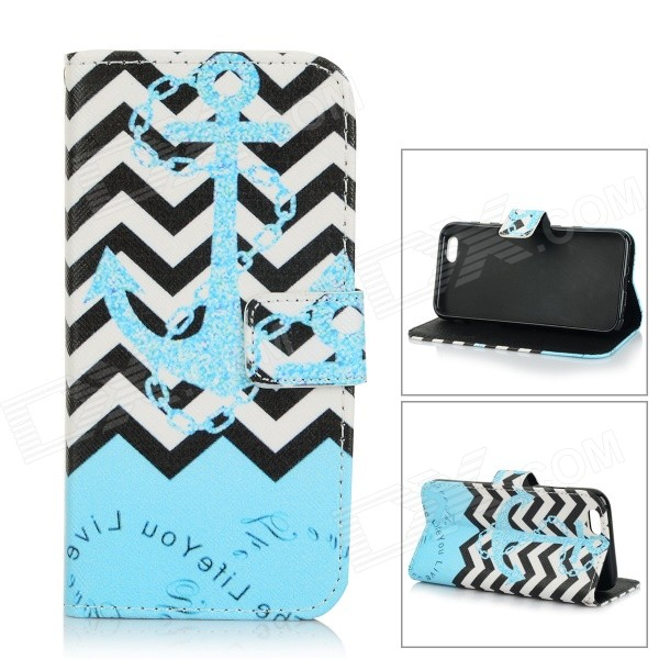 Anchor Pattern Protective Flip-Open TPU + PU Case w/ Stand / Card Slots for IPHONE 6 - Blue + Black plaid pattern protective pu flip open case w stand card slots for iphone 5 5s white