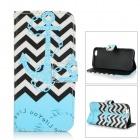 Anchor Pattern Protective Flip-Open TPU + PU Case w/ Stand / Card Slots for IPHONE 6 - Blue + Black