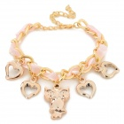 Women's Fashion Owl Ornament Zinc Alloy Bracelet - Pink + Golden