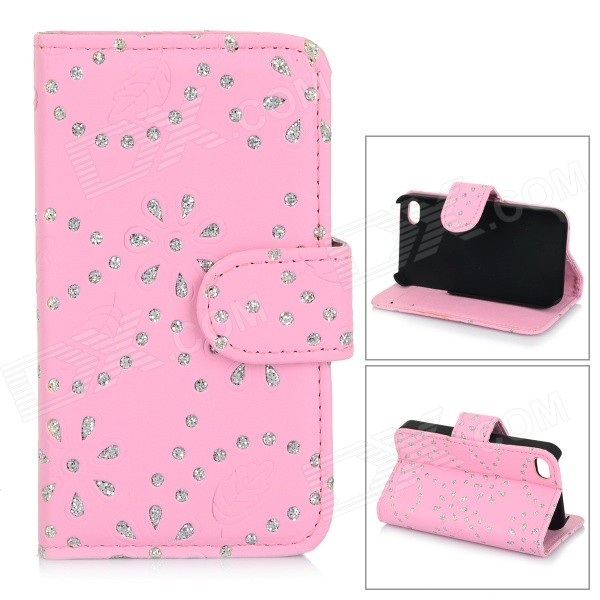 Protective Rhinestone-studded Floral Flip-Open PU Leather Case for IPHONE 4 / 4S - Pink protective pu leather flip open case for iphone 4 4s black