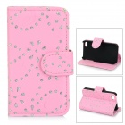 Protective Rhinestone-studded Floral Flip-Open PU Leather Case for IPHONE 4 / 4S - Pink