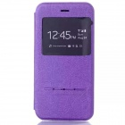 Smart Touch Slide Answer Phone Design PU Leather Flip Cases with Stand for IPHONE 6 - Purple