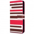 3-Color Stripe Pattern Design PU Leather Flip Cases with Stand and Card Slot for IPHONE 6 - Red