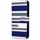 Three Color Stripe Pattern Design PU Leather Flip Cases with Stand and Card Slot for iPhone 6 - Blue