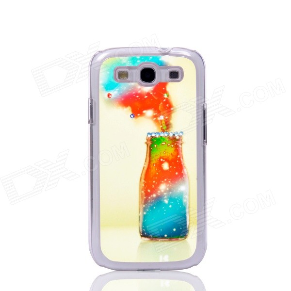 Christmas Wishing Bottle Pattern Back Case for Samsung Galaxy S3 i9300 - White + Red 100x zoom microscope lens case w white 1 led light for samsung galaxy s3 i9300 black 3 x lr1130