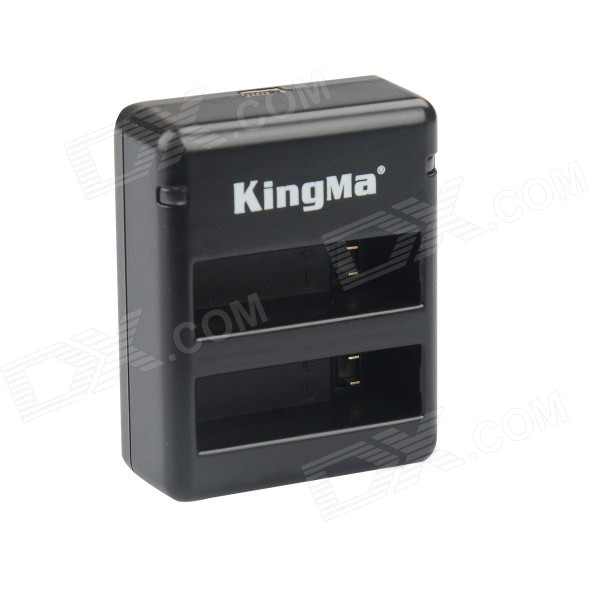Kingma BM020 Dual-USB Dual-Clot Battery Charger for GoPro Hero 4 / GoPro AHDBT-401 - Black + Gray