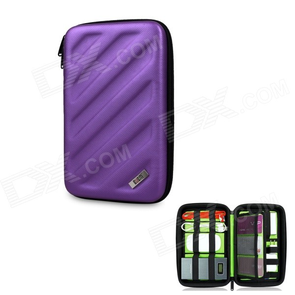 BUBM Shockproof EVA Hard Shell Large-Capacity Multi-Purpose Digital Storage Bag - Purple bubm bj7 reel type large capacity multi purpose digital pouch storage bag coffee