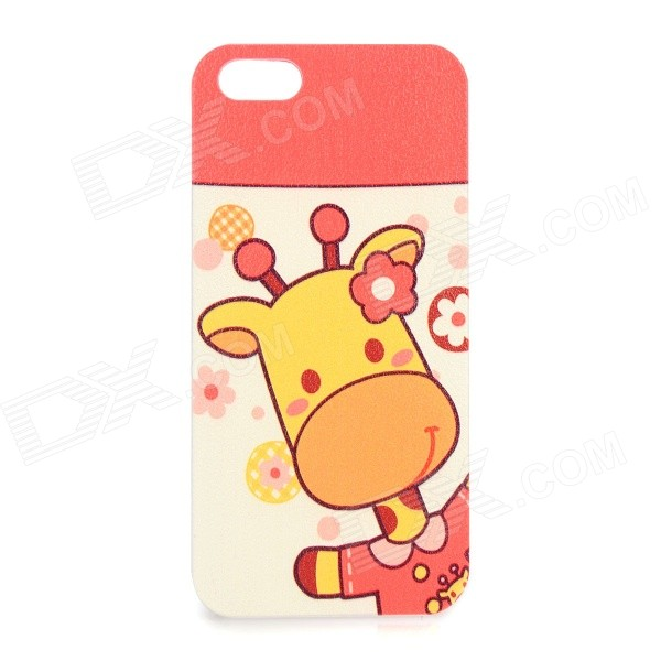 Cute Giraffe Pattern Protective Plastic Back Case for IPHONE 5 / 5S - Red + Yellow + White cute owl pattern tpu back case for iphone 6 plus 5 5 yellow orange multi color