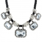 SHIYING W6408 Women's Fashion Zinc Alloy + Rhinestone Pendant Necklace - Black + Silver