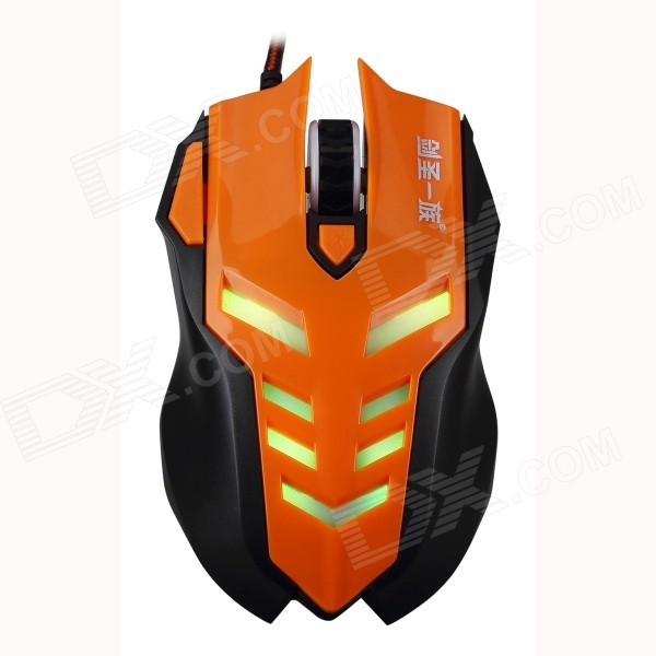 JIANSHENGYIZU JS-X3-CHENGSE Professional 5-Key 2400dpi USB Wired Game Mouse - Orange + Black