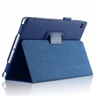 Lichee Pattern Protective PU Leather Case Cover Stand w/ Auto Sleep for IPAD AIR 2 - Deep Blue