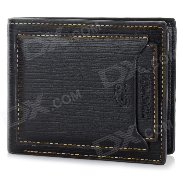 A609-1 Men's Fashion PU + Second Layer Cow Leather Wallet - Black