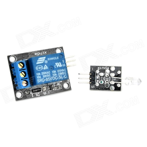 2-in-1 5V Relay Module + IR Transmitting Sensor Module Set - Black + Blue 2pcs cf18 kt led flasher 8 pin adjustable relay module fix auto car signal error flashing blinker 81980 50030 06650 4650 150w