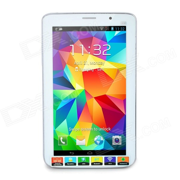 P9 7 Android 4.2 Dual-Core Tablet PC w/ 4GB ROM / GPS / Wi-Fi / FM / Bluetooth - White (EU Plug) jiake f1w 5 0inch capacitive touch screen mtk6572 dual core 1 2ghz smartphone 512mb 4gb 2 0mp 0 3mp android 4 2 os 3g gps with protective case black