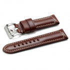 24mm CHIMAERA OP26-BK05 Calf Leather Watch Band Strap Stitch Steel Buckle for PANERAI - Dark Brown