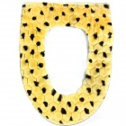 Luxury Leopard Style Warm-keeping Cotton + Plush Toilet Pad Mat Cushion - Yellow + Brown