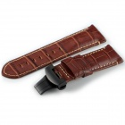 24mm CHIMAERA OP84-BK11 Alligator Grain Calf Leather Watch Band Strap w/ Steel Clasp - Brown