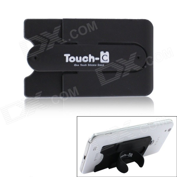 TOUCH Universal Portable Silicone Holder w/ Tape / Card Slot for Cellphone - Black