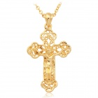 U7 P1286 18K Gold / Platinum Plated Hollow Crucifix Jesus Necklace Cross Pendant for Women - Golden