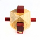 Educational Wooden Polygon Ball Puzzle Unlocking Toy for Kids / Children - Wood + Red