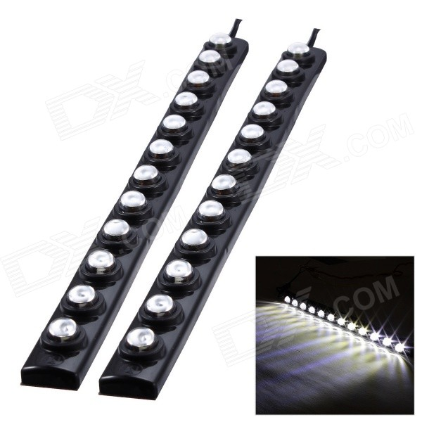 Merdia 12V 75lm 12-SMD LED Superbright Waterproof White Car Daytime Running Light (2 PCS)