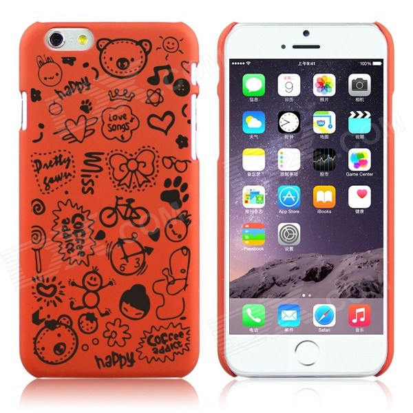 ENKAY Cartoon Print Protective Matte Non-slip Case Back Cover for IPHONE 6 - Orange чехол клип кейс redline ibox blaze для samsung galaxy j1 2016 золотистый [ут000009693]