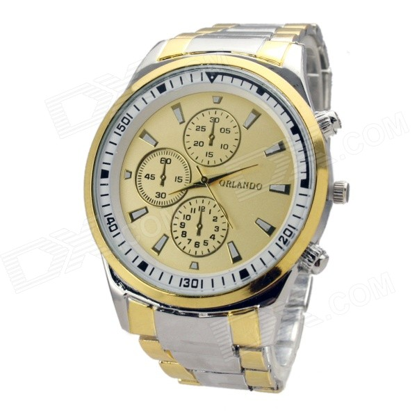 Men's Stylish Alloy Steel Band Analog Quartz Wrist Watch - Gold + Silver (1 x LR626) l 10 women s stylish petals style bracelet quartz analog wristwatch golden white 1 x lr626