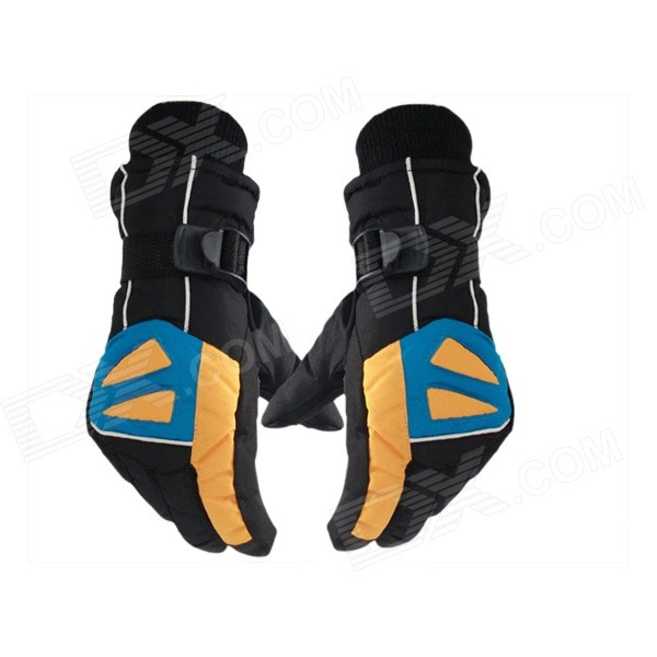 2014 New Non-slip Waterproof Ski Gloves for Men - Black + Yellow (Free Size)