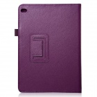 Lichee Pattern Protective PU Leather Case Cover Stand w/ Auto Sleep for IPAD AIR 2 - Purple