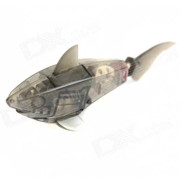 Electronic Shark Fish Toy for Kids / Children - Translucent Black (2 x LR44) robo fish shark style electronic fish toy green white 2 x lr44