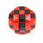 Wooden Six-Sided Educational Puzzle Unlocking Game Toy for Kids / Children - Red + Black