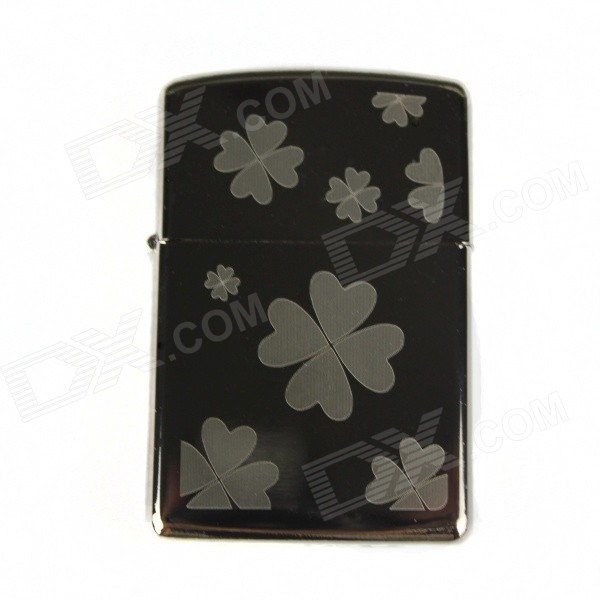 Stylish Clover Pattern Electroplating Kerosene Lighter - Silver