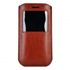Beskyttende PU Full kropp sak med vinduet for IPHONE 6 PLUS -Brown