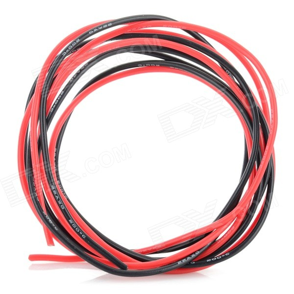 Universal 22AWG Soft Silicone Wires - Black + Red (2 PCS)